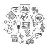 Handmade and sewing outline icons set Royalty Free Stock Photo