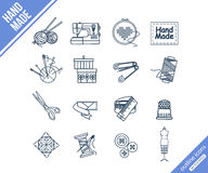 Handmade and sewing outline icons set Royalty Free Stock Images