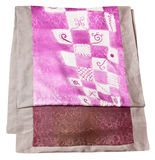 Handmade sewing silk scarf with pink batik pattern Stock Photos