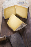 Handmade sheep cheese on the cutting board Royalty Free Stock Image
