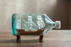 Handmade ship in a bottle Stock Photography