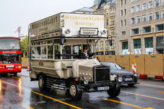 Handmade sightseeing doubledecker. BERLIN, GERMANY - AUGUST 16, 2014: Brown handmade sightseeing doubledecker in the city street Royalty Free Stock Photos