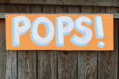 Handmade Sign Directs Carnival Patrons To Pops Booth Stock Images