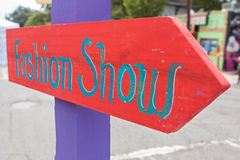 Handmade Sign Says Fashion Show At Festival Stock Images