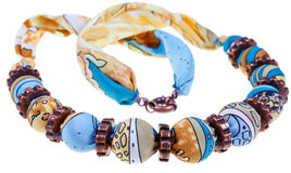 Handmade silk woman necklace Stock Photos