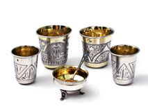 Handmade silver cups Royalty Free Stock Photos