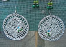 Handmade silver earrings Royalty Free Stock Photography
