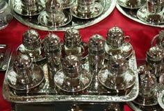 Handmade Silver Turkish Coffee Cup Set Royalty Free Stock Photos