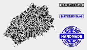 Handmade skład Świątobliwa Helena wyspy mapa i Drapający znaczek ilustracji