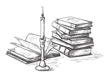 Handmade sketch death concept old books near candle vector. Illustration stock illustration