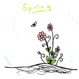 Handmade sketch of spring flower Royalty Free Stock Photos