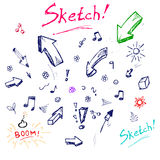 Handmade sketch, vector set Royalty Free Stock Photos