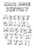 Handmade sketchy font. Handmade sketchy  font - ABC alphabet Royalty Free Stock Photos