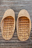 Handmade slippers from dry water hyacinth Royalty Free Stock Images
