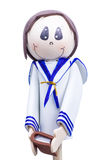 Handmade Small Figure of Little Boy Dressed for First Communion. Stock Photo