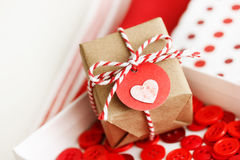 Handmade small gift box with heart Stock Photo