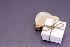 Handmade small gift box with heart Royalty Free Stock Photo