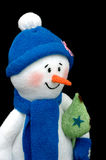 Handmade Snowman over black Royalty Free Stock Images