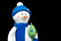 Handmade Snowman over black Stock Photography