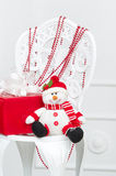 Handmade snowman and red gift box Stock Photography