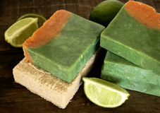 Handmade Soap. Handmade fruity soap bar with limes stock photos
