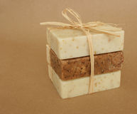 Handmade Soap. Handmade herbal soap bar in a stack Royalty Free Stock Image