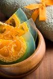 Handmade soap. Citrus handmade soap and towel Royalty Free Stock Photography