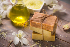 Handmade Soap and Aroma Oil with White orchid. Spa products. Stock Photos