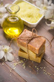 Handmade Soap and Aroma Oil with White orchid. Spa products. Stock Photo