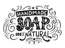Handmade soap bar label with handdrawn lettering royalty free stock image