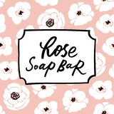 Handmade Soap Bar Label With Handdrawn Lettering And Floral Seamless Pattern Royalty Free Stock Photography
