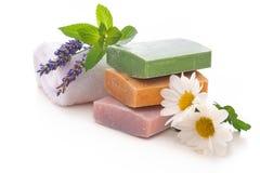 Handmade soap bars stock photos