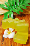 Handmade soap bars. On Bamboo mat with Frangipani flowers and leaf Stock Photos