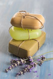 Handmade soap bars with lavender flowers Stock Images