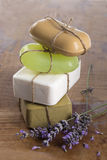Handmade soap bars with lavender flowers Stock Photo