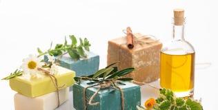 Handmade soap bars on white background stock photography
