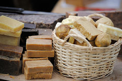 Handmade soap in a basket Royalty Free Stock Image