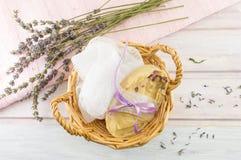 Handmade soap in a basket Stock Photos