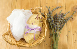 Handmade soap in a basket Royalty Free Stock Images