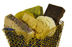 Handmade soap in a basket Stock Images