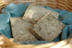 Handmade soap in a basket Stock Photo