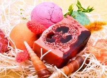 Handmade soap, bath bombs and seashells Stock Photo