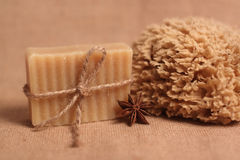 Handmade soap and bath sponge Royalty Free Stock Image