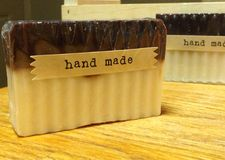 Handmade soap. Beautiful handmade soap with cream and brown Stock Photos