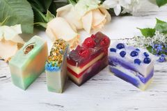 Handmade soap with berries and herbs, a gift Royalty Free Stock Photos