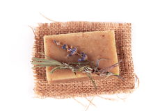 Handmade soap and a branch of lavender Royalty Free Stock Photo