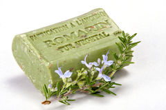 Handmade soap and a branch of rosemary. Stock Images