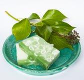 Handmade soap on ceramic plate Stock Photo