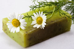 Handmade soap with chamomile Stock Photo