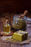 Handmade soap with chamomile Stock Image